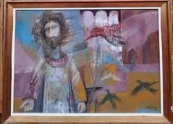 Kádár János Miklós /Madarak c. Képcsarnokos Festménye Eredeti Garanciával