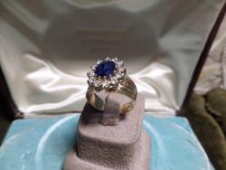 Zafíros - brilles csodaszép arany gyűrű