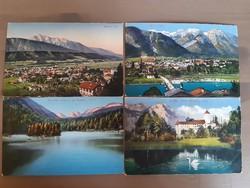 4 darab tiroli képeslap, Innsbrucki és Müncheni készítőktől egyben!