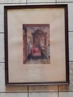 Régi stílusú szobabelső, akvarell Urbánszki jelzéssel