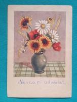 Régi üdvözlőlap,virágos képeslap