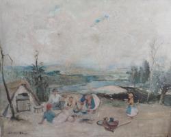 JANCSEK ANTAL: Bográcsozás (olaj, 49x63) derűs életkép Vaszary János tanítványától, pihenő társaság