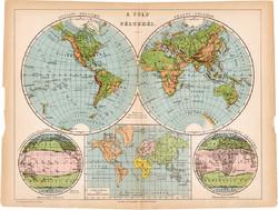 Világtérkép, a Föld féltekéi térkép 1892, eredeti, régi, Athenaeum, Brockhaus, magyar, 24 x 31 cm