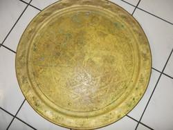 Algírból réz teázó asztal, 79cm átmérővel, antik