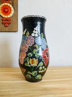 Ritka,kalocsai kerámia virág mintás váza