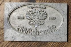 Régi címeres pezsgő címke nyomó lap forma,fém.Nyomda, bélyegző,pecsét nyomó, nyomtatás