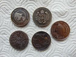 Anglia 5 darab 1 crown - 25 pence - pound LOT ! 28 grammos érmék