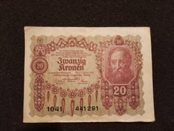 Gyönyörű Osztrák-Magyar 20 Korona 1922