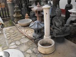 Minimál kő kút Nagy 100cm kő kerti kút Sok célra madár itató vagy virágtartó tál nak