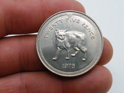 KK1211 1975 MAN sziget  25 pence érme Isle of Man One crown macska