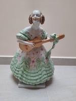 Nagy Zöld Herendi Déryné porcelán figura