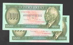 """1000 forint 1993.  """"D""""!!  2 db sorszám követő!!  UNC!! RITKA!!"""