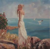 Antyipina Galina: A tengernél, olajfestmény, vászon, 50x50cm