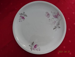 Alföldi porcelán, kerek húsos tál lila virággal, átmérője 28,5 cm.
