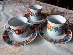 Kézzel festett kalocsai mintás kávés szettek