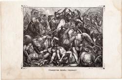 Frangepán megöli Fridriket, metszet 1860, eredeti, fametszet, történelem, Geiger - féle kép, 1246