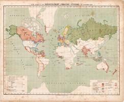 Világtérkép 1857, keresztény államok, eredeti, Berghaus, német nyelvű, térkép, vallás, Európa