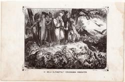 IV. Béla elpusztult országába visszatér, metszet 1860, eredeti, fametszet, történelem, 1242, Geiger