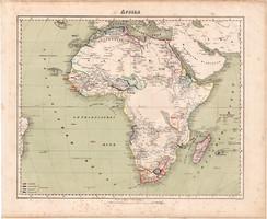 Afrika térkép 1857, eredeti, Berghaus, német nyelvű, atlasz, Szahara, Egyiptom, Nílus, Fokváros