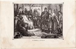 A fogoly Gyula, metszet 1860, eredeti, fametszet, történelem, Geiger-féle kép, 1002, családja