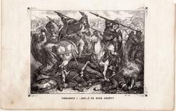 Párharcz I. László és Ákos között, metszet 1860, eredeti, fametszet, történelem, Geiger-féle kép