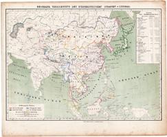 Buddhista államok térkép 1857, eredeti, Berghaus, német nyelvű, vallás, Ázsia, Kínai birodalom