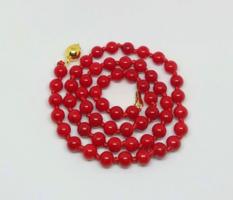 Vörös korall nyaklánc 6 mm-s gyöngyökből