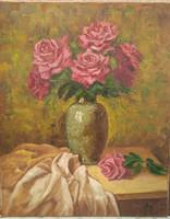 Antyipina Galina: Lila rózsák, olajfestmény, vászon, 50x40cm