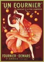 Vintage curacao pezsgő reklám hirdetés plakát reprint nyomat Cappiello spanyol táncos lány narancs