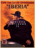 Vintage spanyol kávé reklám hirdetés plakát reprint nyomat Cappiello Ibéria kalapos férfi köpenyben