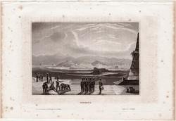 Messina, acélmetszet 1861, Meyers Universum, eredeti, 9 x 14 cm, metszet, Olaszország, Szicília