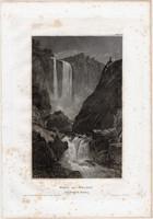 Velino vízesés, Terni, acélmetszet 1861, Meyers Universum, eredeti, 9 x 15 cm, metszet, Olaszország