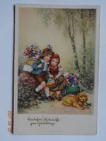 Gyönyörű antik német üdvözlő (születésnapi) képeslap