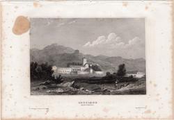 Cettigne, acélmetszet 1861, Meyers Universum, eredeti, 10 x 15 cm, metszet, Montenegro, Cetinje