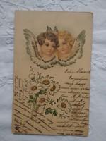Antik/szecessziós dombornyomott litho/litográfiás képeslap/üdvözlőlap angyalok 1904