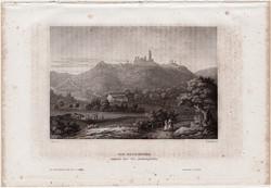 Boyneburg, acélmetszet 1861, Meyers Universum, eredeti, 9 x 14 cm, metszet, Németország, vár, rom