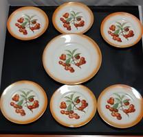 Zsolnay süteményes készlet, cseresznye mintás (7 db-os)