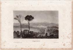 Negroponte, acélmetszet 1861, Meyers Universum, eredeti, 9 x 14 cm, metszet, Görögország, sziget