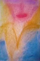 """Szabó Kata: """"Női arc""""  pasztell festmény, akvarell papír  45,5  x 30,5 cm, szignózott"""