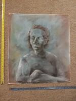 Igen furcsa stílusú, és izgalmas portré, pasztell festmény