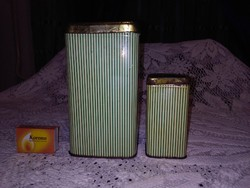 Régi fűszeres lemez doboz, fém, pléh doboz - két darab együtt