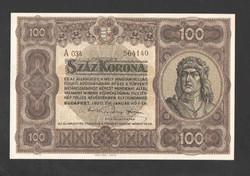 100 korona 1920. Sötét barna sorozat, és sorszám!!   UNC!!