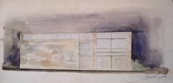Bortnyik Sándor : Bauhaus-villa terv.Akvarell papír.Mérete:23x44cm