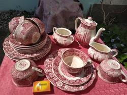 22 db. antik angol jelenetes porcelán kávés készlet, 6 személyes