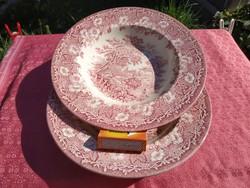 Antik angol jelenetes porcelán mély tányér, 2 db.