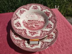 Gyönyörű angol jelenetes porcelán mély tányér, 2 db.