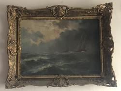 Viharos tengeri látkép hajóval 50x70cm+keret (69x89) olaj-vászon blondel keretben