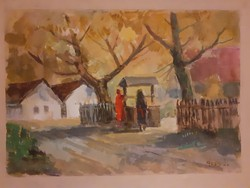 Rozs János: Beszélgetők a kútnál, eredeti jelzett, őszi akvarell