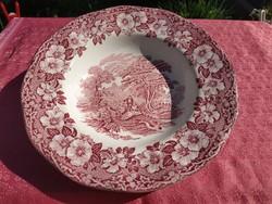 Antik angol jelenetes porcelán mély tányér