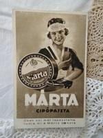 Antik magyar reklám képeslap/reklámlap/reklámfotó Márta cipőpaszta 1930 körüli